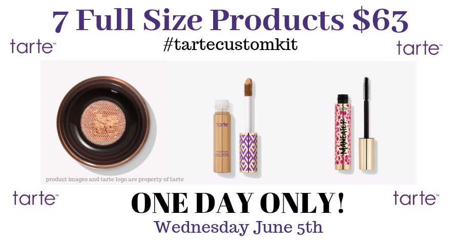 The tarte cosmetics custom kit sale starts at 7am and last for 24 hours